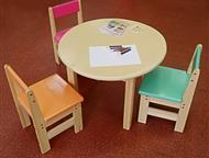 Детский комплект стол и 3 стула из массива дерева сосна Детский комплект стол и 3 стула из массива дерева сосна Деревянные стол и стул способны выдерж, Магнитогорск - Мебель для детей